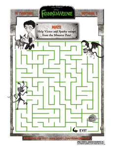 FRANKENWEENIE - Monster Pet Maze activity sheet