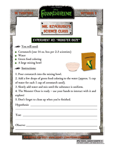 FRANKENWEENIE - Science Experiment activity sheet