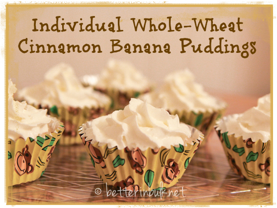Individual banana puddings with whole wheat and cinnamon