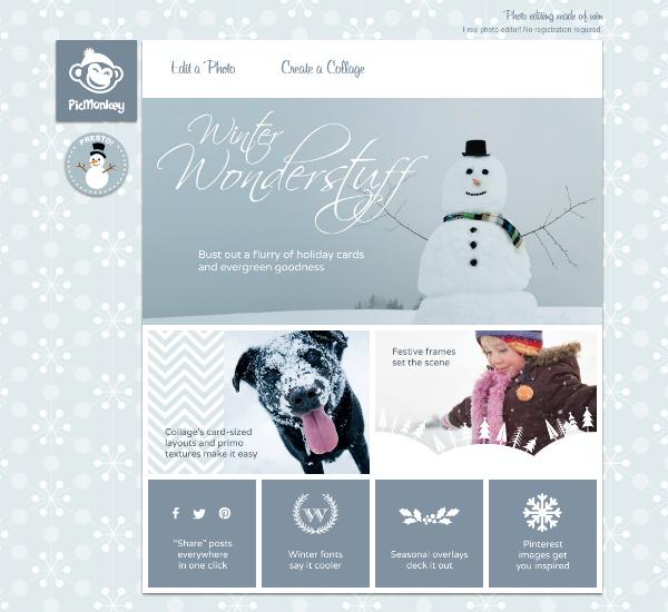 winterland theme on Picmonkey