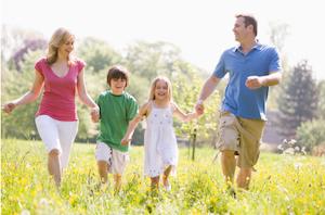 Family walking in flowers(1)