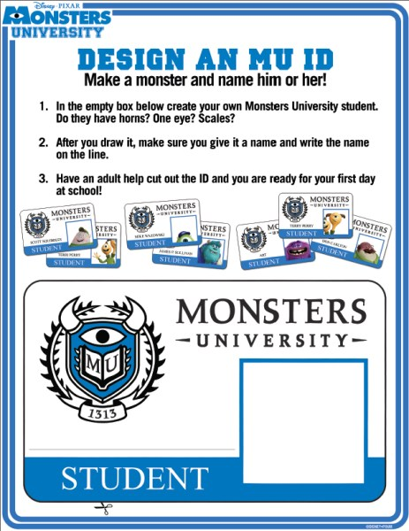 Monsters University activity sheets free printables