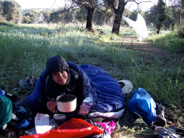 Gail Storey, breakfast on Pacific Crest Trail