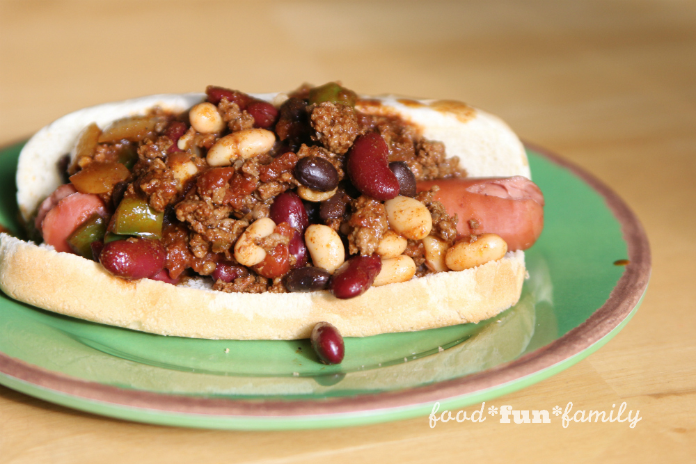 Kosher 3 bean chili dogs from Food Fun Family