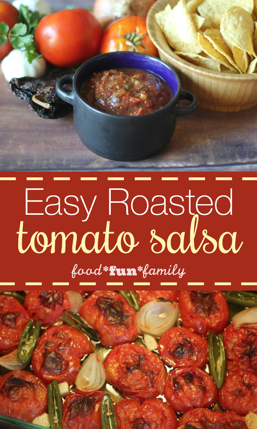 Easy roasted tomato salsa - roasted garden fresh vegetables...and very little work make the BEST salsa ever!