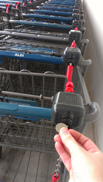The ALDI quarter carts - another one of the things my kids love about ALDI. If it saves me money, I'm a fan!