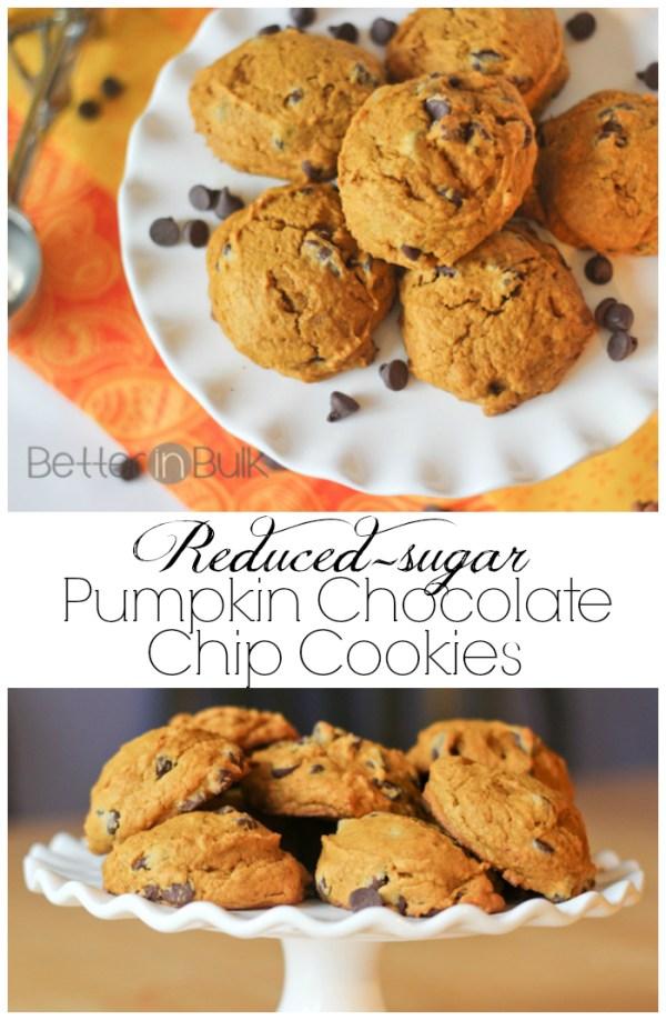 Reduced sugar pumpkin chocolate chip cookies
