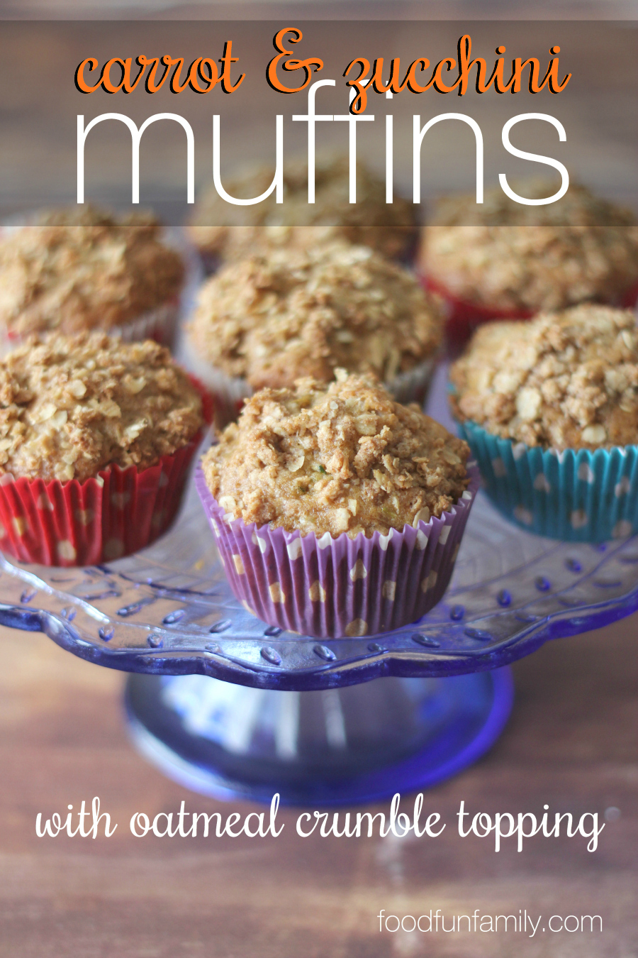 Zucchini bread and carrot cake got together and these delicious muffins are their babies. OK, maybe that didn't really happen, but these carrot and zucchini muffins with oatmeal crumble topping are SO good, you've got to try them!
