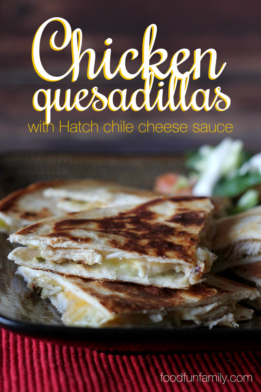 This easy 15-minute recipe for chicken quesadillas with hatch green chile cheese sauce takes basic quesadillas to a whole new level. Quick meals don't have to be boring! You are going to LOVE this sauce!