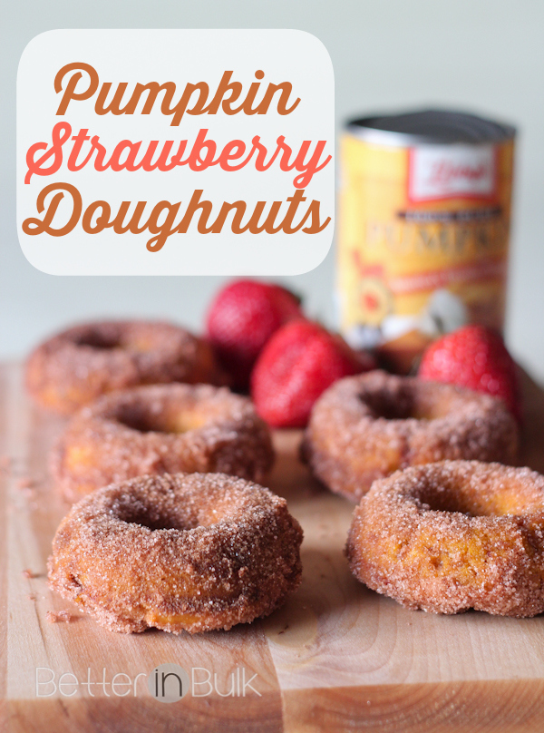 Think pumpkin is just for the fall and pumpkin pie? Think again! These pumpkin strawberry donuts are perfect all year long. Moist and delicious - good for breakfast or dessert!