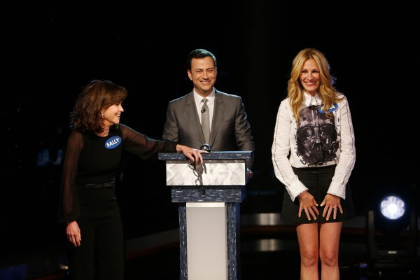 """JIMMY KIMMEL LIVE -  guests for MONDAY, MAY 5 included actress Sally Field (""""The Amazing Spider-Man 2""""), actress Julia Roberts (""""The Normal Heart"""") and musical guest Future Islands.  (Randy Holmes/ABC via Getty Images) SALLY FIELD, JIMMY KIMMEL, JULIA ROBERTS"""