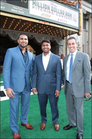 The real people bind Million Dollar Arm: Rinku, Dinesh, and JB Bernstein (Photo credit: ©Disney)
