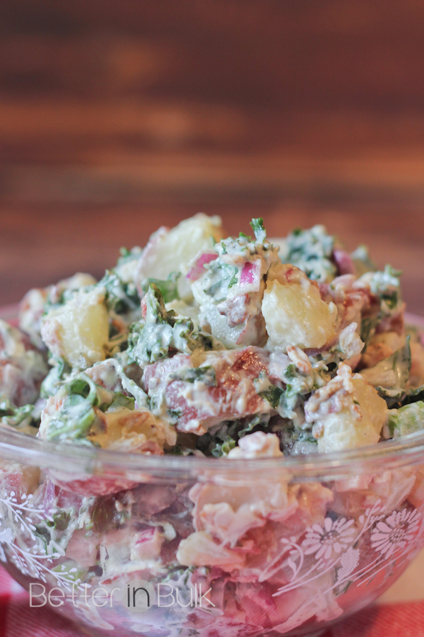 This unique kale & apple potato salad with Miracle Whip is perfect for BBQ season! What a yummy side dish to serve with any dinner or social gathering!