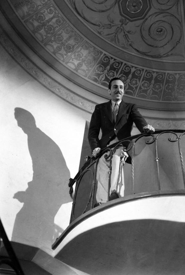 Walt Disney on staircase in Woking Way home