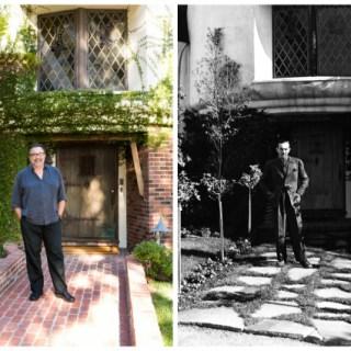 Don Hahn and Walt Disney standing in front of Walt Disney's Woking Way Estate
