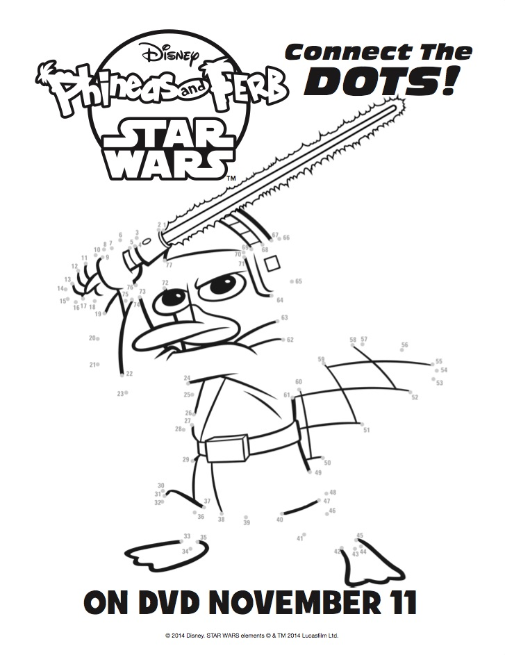 Phineas and Ferb Star Wars Activity Sheets #Printables