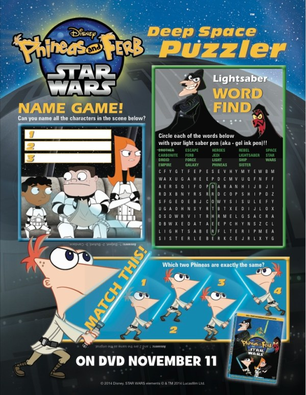 phineas and ferb star wars puzzler