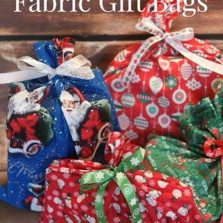 DIY reusable fabric gift bags for Christmas