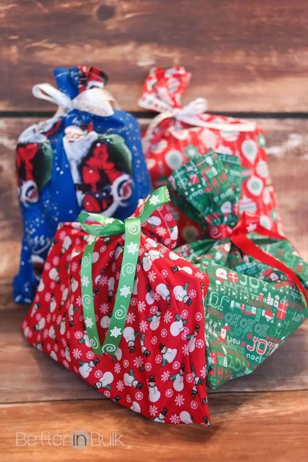 DIY Reusable Fabric Gift Bags |White Christmas Diy Gift Bags