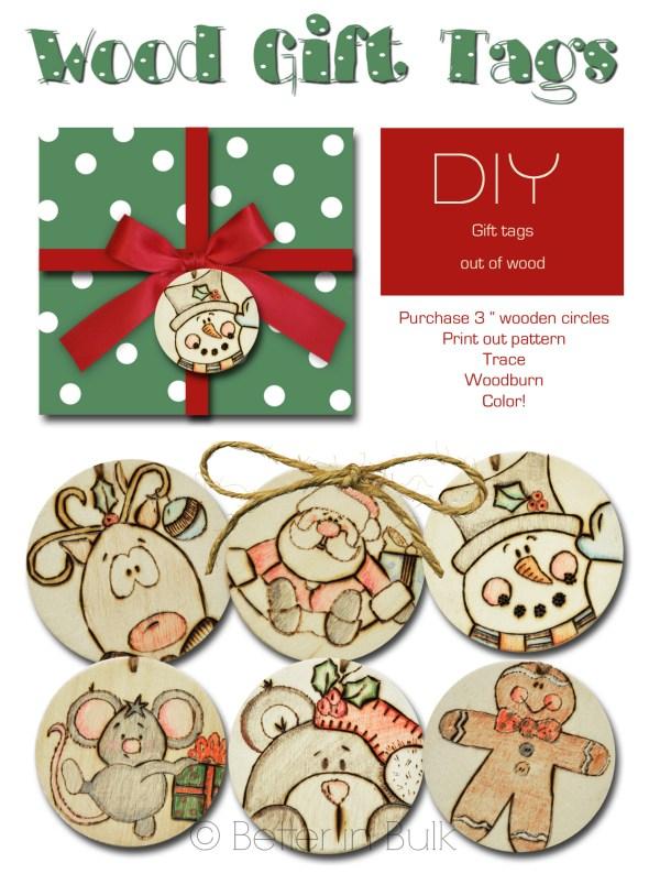 wood gift tags Christmas craft