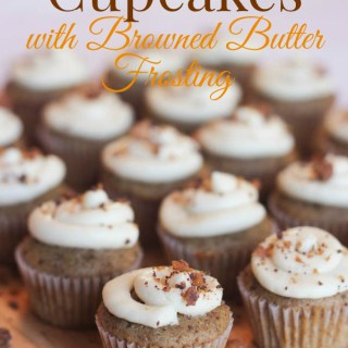 Toffee Cupcakes with Browned Butter Frosting
