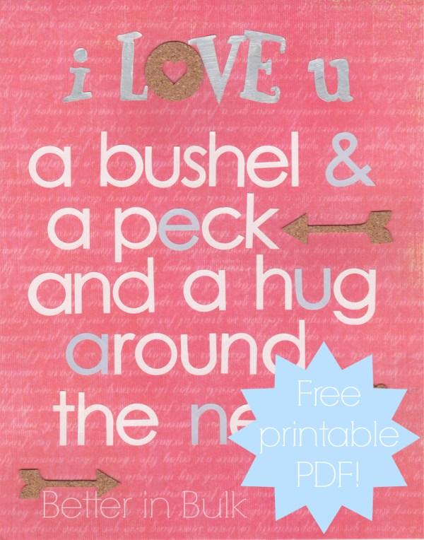 I love you a bushel and a peck printable