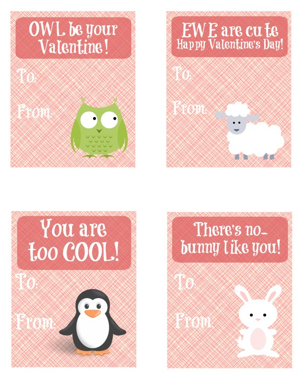 Cute Animal Valentine's Day cards