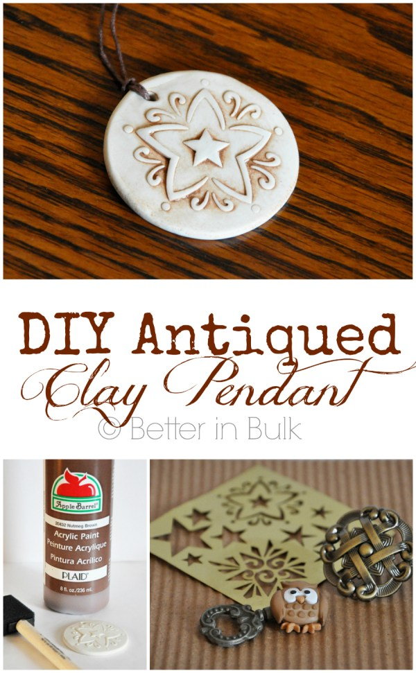 This DIY antiqued clay pendant craft is so easy to customize. It would make a great gift or hand made accessory to keep for yourself! I just love this Sculpey clay craft!