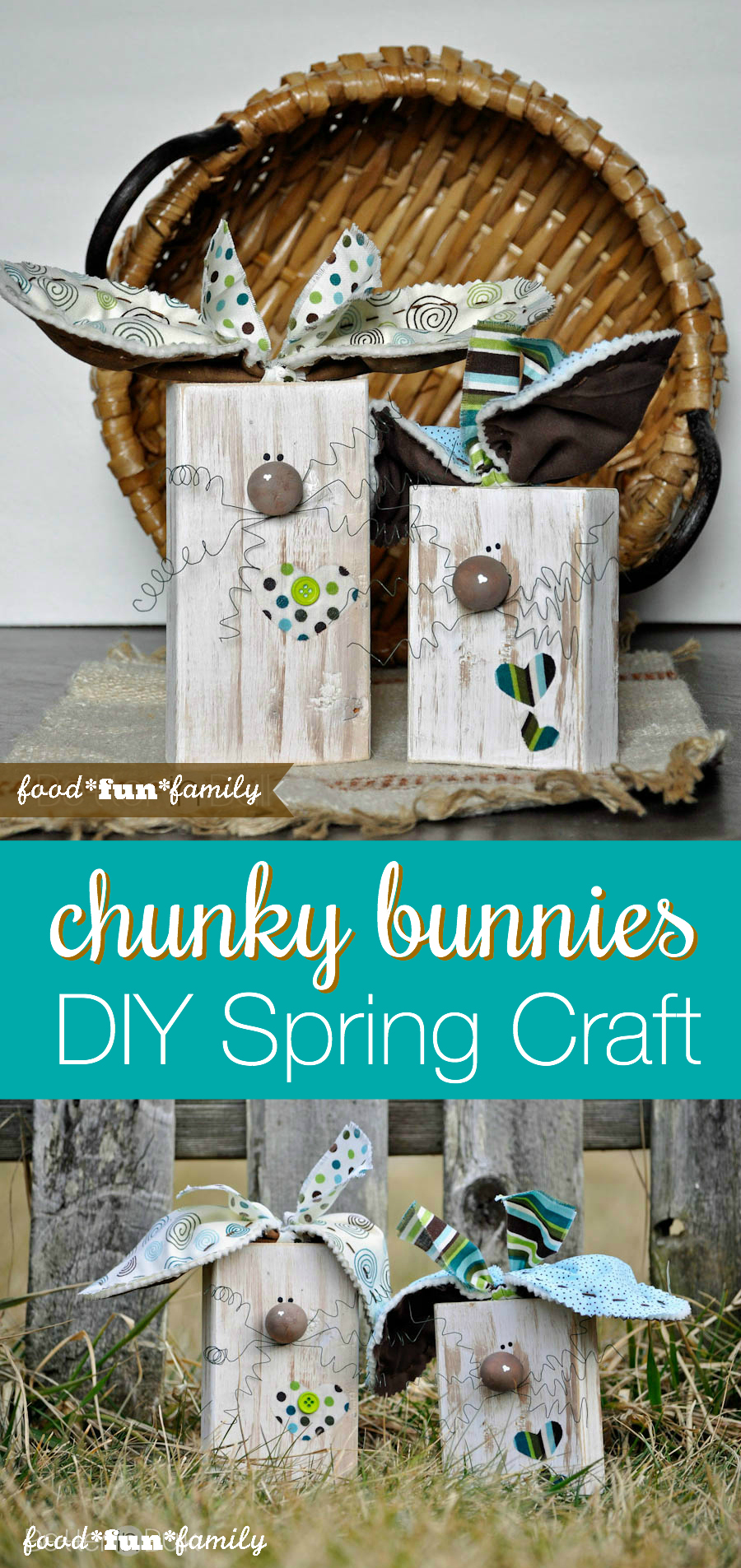 What a FUN DIY Spring craft project! These Chunky Bunnies loo so fancy but they are really EASY to make!
