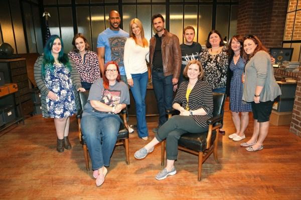 ELIZABETH HENSTRIDGE, HENRY SIMMONS, ADRIANNE PALICKI, BRETT DALTON, IAIN DE CAESTECKER (plus a few of us bloggers!  (ABC/Adam Taylor)