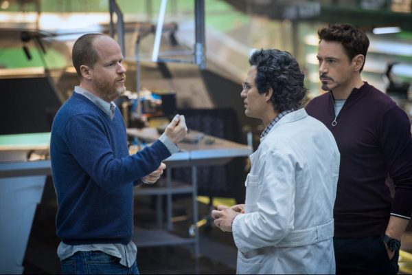 Joss Whedon and Mark Ruffalo on the set of Avengers: Age of Ultron {Photo credit: Marvel}