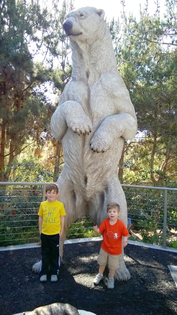 Polar bear and boys