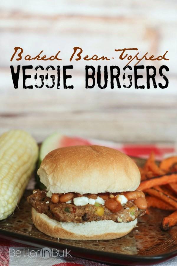 Baked Bean Topped Veggie Burgers