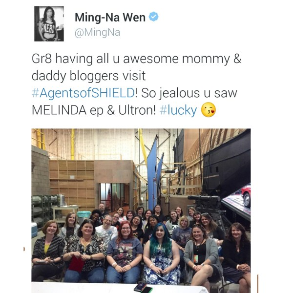 Ming-Na Wen tweets a pictures of the #AgentsofSHIELD #ABCTVevent Bloggers!