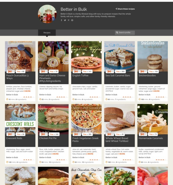 Yummly blog publisher page