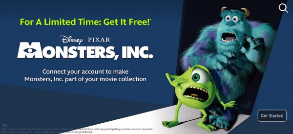 Monsters Inc promotion on Disney Movies Anywhere