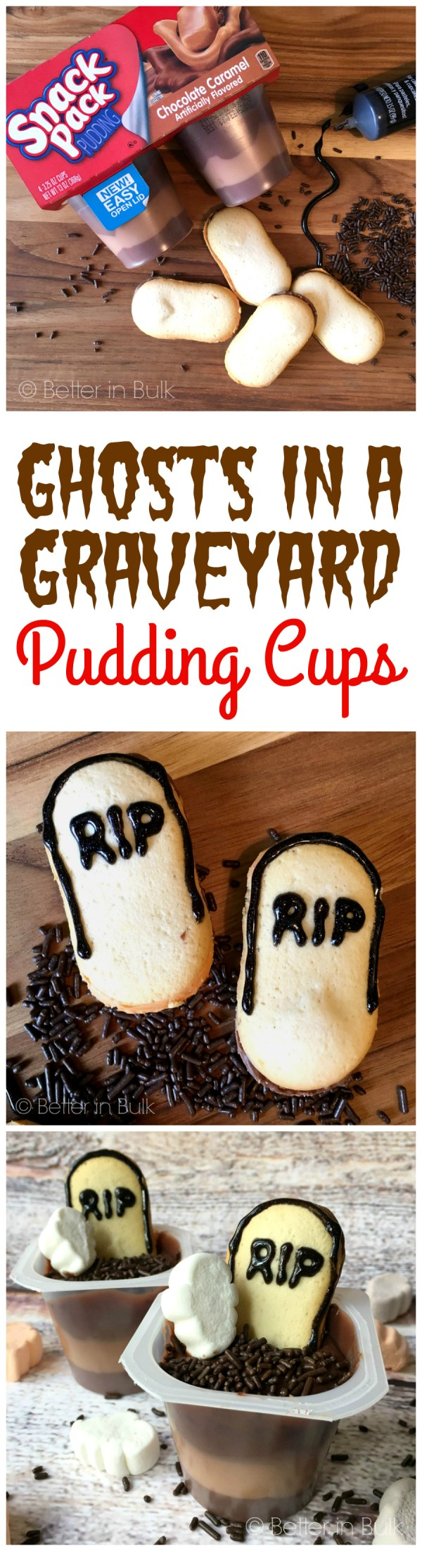 Ghosts in a Graveyard Pudding Cups Easy Halloween Recipe from Better in Bulk