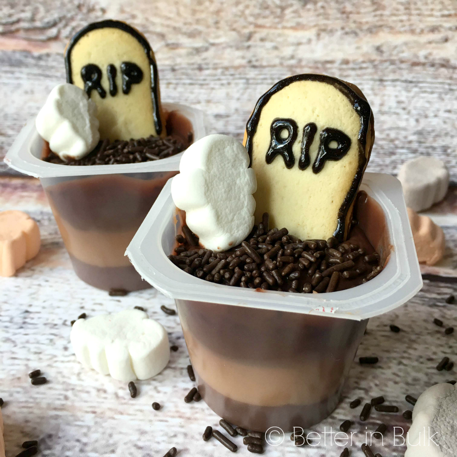 Ghosts in a Graveyard Pudding Cups Halloween recipe