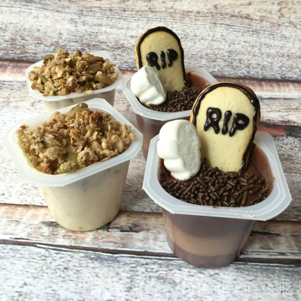 Ghosts in a Graveyard Pudding Cups Halloween recipe by Better in Bulk