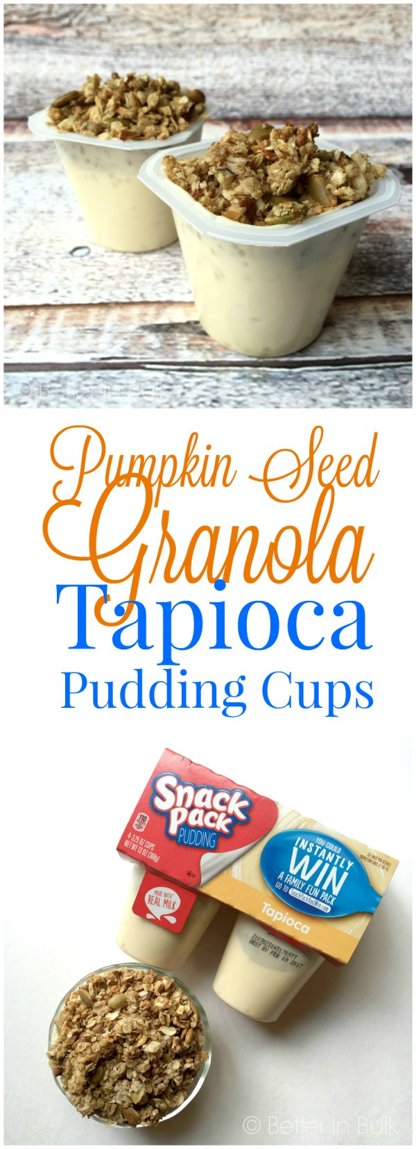 Pumpkin Seed Granola Tapioca Pudding Cups Halloween recipe from Better in Bulk