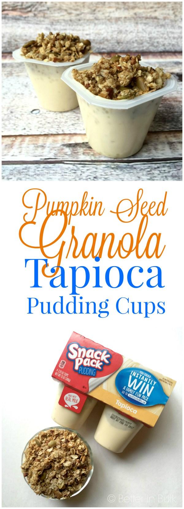 Pumpkin Seed Granola Tapioca Pudding Cups Halloween recipe from Better in Bulk