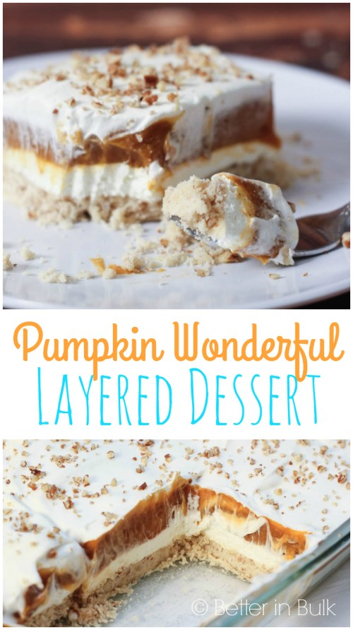 Pumpkin Wonderful layered dessert by Better in Bulk - a traditional Thanksgiving dish