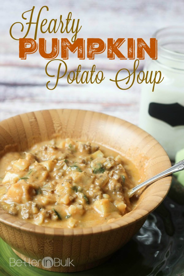 Hearty pumpkin potato soup recipe from Better in Bulk