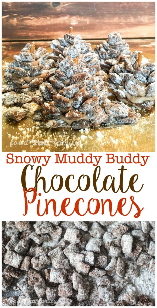 Snowy Muddy Buddy Chocolate Pinecones Recipe from Food Fun Family
