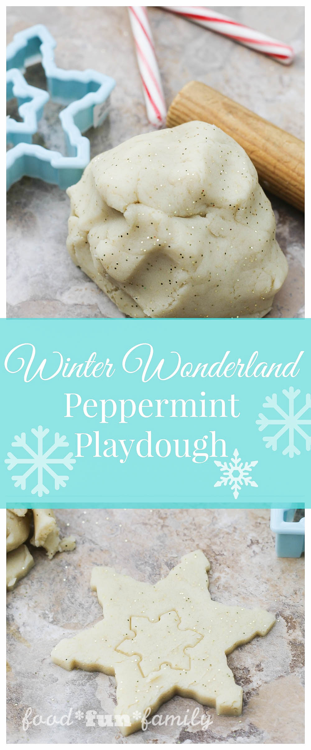 Winter Wonderland Peppermint playdough from Food Fun Family