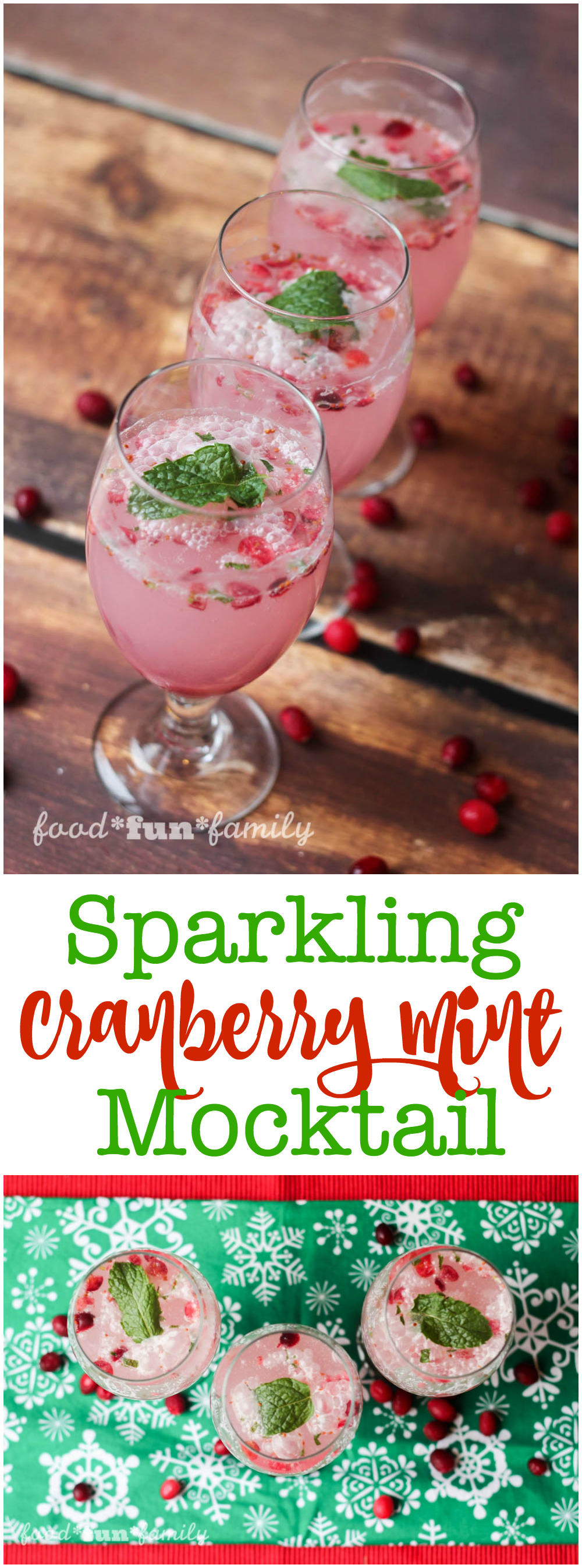 Sparkling Mint Cranberry mocktail recipe from Food Fun Family