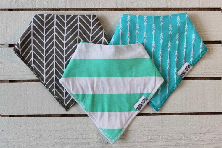 Bamboo Button unisex baby bandanas