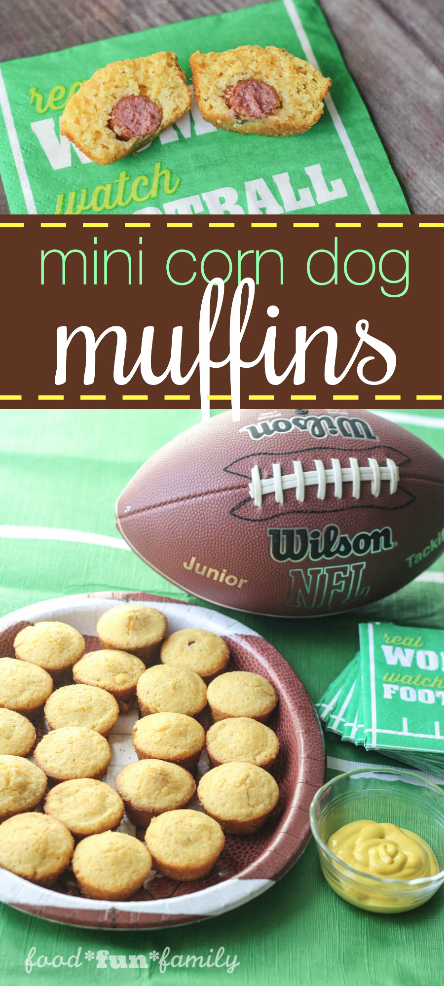Mini corn dog muffins recipe - perfect party food appetizer or dinner on-the-go!
