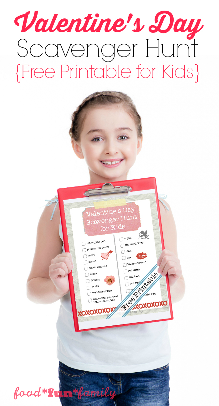 Valentine's Day Scavenger Hunt - a free printable activity for kids from Food Fun Family
