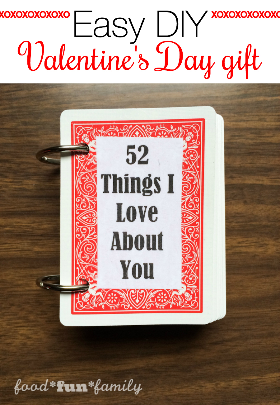 "Looking for a quick and cheap or last-minute gift idea for Valentine's Day? Your sweetheart is going to love these ""52 Things I Love About You"" cards. This would be a fun Valentine's Day craft for kids to make for a parent, too!"
